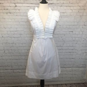 BCBGMaxAzria white pleated dress